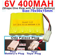 400mah 6V NiCd Battery Pack-AA 400mah 6 Volt NiCD Rechargeable Battery-With Oda Palace Plug(Round hole-Red Wire),6V 400mah Ni-Cd Rechargeable Battery For RC Car Truck,(Shape-One Row With 5 Inner-Battery)-Size-70x50x15mm