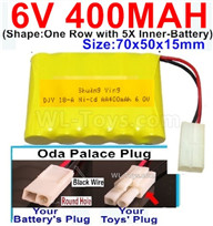 400mah 6V NiCd Battery Pack-AA 400mah 6 Volt NiCD Rechargeable Battery-With Oda Palace Plug(Round hole-Black Wire),6V 400mah Ni-Cd Rechargeable Battery For RC Car Truck,(Shape-One Row With 5 Inner-Battery)-Size-70x50x15mm