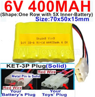 400mah 6V NiCd Battery Pack-AA 400mah 6 Volt NiCD Rechargeable Battery-With KET-3P Plug(Solid)-(2X Suare Hole+1X D-Shape Hole,The Middle hole is Red wire-Size-70x50x15mm,6V 400mah Ni-Cd Rechargeable Battery For RC Car Truck,
