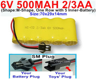 500mah 6V NiCd Battery Pack-AA 500mah 6 Volt NiCD Rechargeable Battery-With SM Plug-,6V 500mah Ni-Cd Rechargeable Battery For RC Car Truck,,(Shape-M-Shape, One Row with 5 Inner-Battery)-Size-70x29x14mm