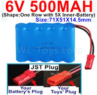 500mah 6V NiCd Battery Pack-AA 500mah 6 Volt NiCD Rechargeable Battery-With JST Plug,6V 500mah Ni-Cd Rechargeable Battery For RC Car Truck,,(Shape-One Row With 5 Inner-Battery)-Size-71X51X14.5mm