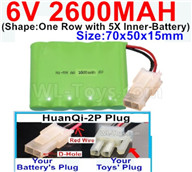 2600mah 6V RC Car Battery Pack-6 Volt 2600mah Ni-MH Battery AA-With HuanQi-2P plug(1X Square hole+ 1X D-Shape Hole.The D-Shape Hole is Red Wire),6V 2600mah Rechargeable Battery For RC Car Truck,(Shape-One Row with 5X Inner-Battery)-Size-70x50x15mm