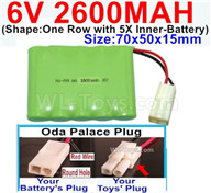 2600mah 6V RC Car Battery Pack-6 Volt 2600mah Ni-MH Battery AA-With Oda Palace Plug(Round hole-Red Wire),6V 2600mah Rechargeable Battery For RC Car Truck,(Shape-One Row with 5X Inner-Battery)-Size-70x50x15mm