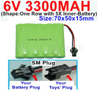 3300mah 6V RC Car Battery Pack-6 Volt 3300mah Ni-MH Battery AA-With SM Plug,6V 3300mah Rechargeable Battery For RC Car Truck,(Shape-One Row with 5X Inner-Battery)-Size-70x50x15mm