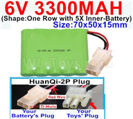 3300mah 6V RC Car Battery Pack-6 Volt 3300mah Ni-MH Battery AA-With HuanQi-2P plug(1X Square hole+ 1X D-Shape Hole.The D-Shape Hole is Red Wire),6V 3300mah Rechargeable Battery For RC Car Truck,(Shape-One Row with 5X Inner-Battery)-Size-70x50x15mm