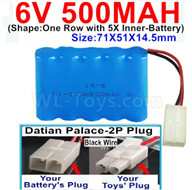 500mah 6V NiCd Battery Pack-AA 500mah 6 Volt NiCD Rechargeable Battery-With Datian Palace-2P Plug(The D-Shape hole is Black wire),6V 500mah Ni-Cd Rechargeable Battery For RC Car Truck,,(Shape-One Row With 5 Inner-Battery)-Size-71X51X14.5mm