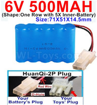 500mah 6V NiCd Battery Pack-AA 500mah 6 Volt NiCD Rechargeable Battery-With HuanQi-2P plug(1X Square hole+ 1X D-Shape Hole.The D-Shape Hole is Red Wire),6V 500mah Ni-Cd Rechargeable Battery For RC Car Truck,,(Shape-One Row With 5 Inner-Battery)-Size-71X51X14.5mm