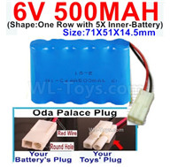 500mah 6V NiCd Battery Pack-AA 500mah 6 Volt NiCD Rechargeable Battery-With Oda Palace Plug(Round hole-Red Wire),6V 500mah Ni-Cd Rechargeable Battery For RC Car Truck,,(Shape-One Row With 5 Inner-Battery)-Size-70x50x15mm