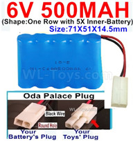500mah 6V NiCd Battery Pack-AA 500mah 6 Volt NiCD Rechargeable Battery-With Oda Palace Plug(Round hole-Black Wire),6V 500mah Ni-Cd Rechargeable Battery For RC Car Truck,,(Shape-One Row With 5 Inner-Battery)-Size-70x50x15mm