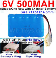 500mah 6V NiCd Battery Pack-AA 500mah 6 Volt NiCD Rechargeable Battery-With KET-3P Plug(Hollow)-(2X Suare Hole+1X D-Shape Hole,The Middle hole is Black wire),6V 500mah Ni-Cd Rechargeable Battery For RC Car Truck,,(Shape-One Row With 5 Inner-Battery)-Size-71X51X14.5mm