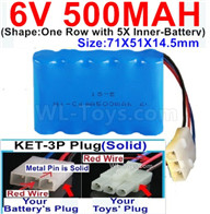 500mah 6V NiCd Battery Pack-AA 500mah 6 Volt NiCD Rechargeable Battery-With KET-3P Plug(Solid)-(2X Suare Hole+1X D-Shape Hole,The Middle hole is Red wire-Size-71X51X14.5mm