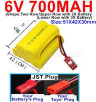 700mah 6V NiMH Battery Pack-AA 700mah 6 Volt NiMH Rechargeable Battery-With JST Plug,6V 700mah Ni-MH Rechargeable Battery For RC Car Truck,(Shape-Upper Row with 2x Inner-Batery,Lower Row with 3x Inner-Battery)-Size-51X42X30mm