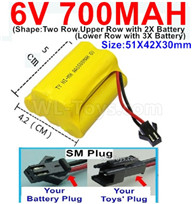 700mah 6V NiMH Battery Pack-AA 700mah 6 Volt NiMH Rechargeable Battery With SM Plug,(Shape-Upper Row with 2x Inner-Batery,Lower Row with 3x Inner-Battery)-Size-51X42X30mm