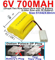 700mah 6V NiMH Battery Pack-AA 700mah 6 Volt NiMH Rechargeable Battery With Datian Palace-2P Plug(The D-Shape hole is Black wire),6V 700mah Ni-MH Rechargeable Battery For RC Car Truck,(Shape-Upper Row with 2x Inner-Batery,Lower Row with 3x Inner-Battery)-Size-51X42X30mm