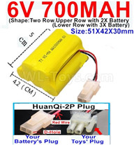 700mah 6V NiMH Battery Pack-AA 700mah 6 Volt NiMH Rechargeable Battery With HuanQi-2P plug(1X Square hole+ 1X D-Shape Hole.The D-Shape Hole is Red Wire),6V 700mah Ni-MH Rechargeable Battery For RC Car Truck,(Shape-Upper Row with 2x Inner-Batery,Lower Row with 3x Inner-Battery)-Size-51X42X30mm