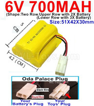 700mah 6V NiMH Battery Pack-AA 700mah 6 Volt NiMH Rechargeable Battery With Oda Palace Plug(Round hole-Black Wire),6V 700mah Ni-MH Rechargeable Battery For RC Car Truck,(Shape-Upper Row with 2x Inner-Batery,Lower Row with 3x Inner-Battery)-Size-51X42X30mm