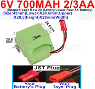 700mah 6V NiCd Battery Pack-2/3AA 700mah 6 Volt NiCD Rechargeable Battery-With JST Plug,6V 700mah Ni-Cd Rechargeable Battery For RC Car Truck,(Shape-One Row With 5 Inner-Battery),6V 700mah Ni-Cd Rechargeable Battery For RC Car Truck,(Shape-Upper Row 2X Battery,Lower Row 3X Battery)-Size-43mm(Lower)X28.6mm(Upper)X28.6(height)X28mm(Width)