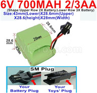 700mah 6V NiCd Battery Pack-2/3AA 700mah 6 Volt NiCD Rechargeable Battery-With SM Plug,6V 700mah Ni-Cd Rechargeable Battery For RC Car Truck,(Shape-One Row With 5 Inner-Battery),6V 700mah Ni-Cd Rechargeable Battery For RC Car Truck,(Shape-Upper Row 2X Battery,Lower Row 3X Battery)-Size-43mm(Lower)X28.6mm(Upper)X28.6(height)X28mm(Width)