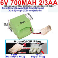 700mah 6V RC Car Battery Pack-6 Volt 700mah Ni-Cd Battery 2/3AA-With HuanQi-2P plug(1X Square hole+ 1X D-Shape Hole.The D-Shape Hole is Red Wire)-43mm(Lower)X28.6mm(Upper)X28.6(height)X28mm(Width),6V 700mah Rechargeable RC Battery Pack