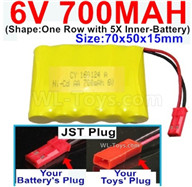 700mah 6V RC Car Battery Pack-6 Volt 700mah Ni-Cd Battery AA-With JST Plug,6V 700mah Rechargeable Battery For RC Car Truck,(Shape-One Row With 5 Inner-Battery)-Size-70x50x15mm