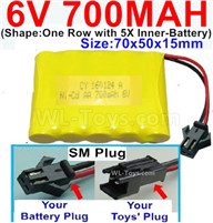 700mah 6V RC Car Battery Pack-6 Volt 700mah Ni-Cd Battery AA-With SM Plug,6V 700mah Rechargeable Battery For RC Car Truck,(Shape-One Row With 5 Inner-Battery)-Size-70x50x15mm