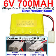 700mah 6V RC Car Battery Pack-6 Volt 700mah Ni-Cd Battery AA-With Datian Palace-2P Plug(The D-Shape hole is Black wire),6V 700mah Rechargeable Battery For RC Car Truck,(Shape-One Row With 5 Inner-Battery)-Size-70x50x15mm