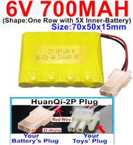 700mah 6V NiCd Battery Pack-AA 700mah 6 Volt NiCD Rechargeable Battery-With HuanQi-2P plug(1X Square hole+ 1X D-Shape Hole.The D-Shape Hole is Red Wire),6V 700mah Ni-Cd Rechargeable Battery For RC Car Truck,(Shape-One Row With 5 Inner-Battery)-Size-70x50x15mm