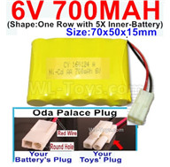 700mah 6V RC Car Battery Pack-6 Volt 700mah Ni-Cd Battery AA-With Oda Palace Plug(Round hole-Red Wire),6V 700mah Rechargeable Battery For RC Car Truck,(Shape-One Row With 5 Inner-Battery)-Size-70x50x15mm