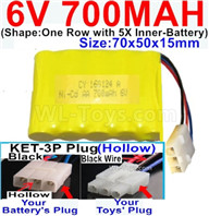700mah 6V RC Car Battery Pack-6 Volt 700mah Ni-Cd Battery AA-With KET-3P Plug(Hollow)-(2X Suare Hole+1X D-Shape Hole,The Middle hole is Black wire),6V 700mah Rechargeable Battery For RC Car Truck,(Shape-One Row With 5 Inner-Battery)-Size-70x50x15mm