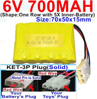 700mah 6V RC Car Battery Pack-6 Volt 700mah Ni-Cd Battery AA-With KET-3P Plug(Solid)-(2X Suare Hole+1X D-Shape Hole,The Middle hole is Red wire-Size-70x50x15mm