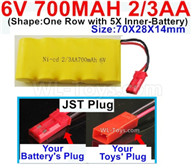 700mah 6V RC Car Battery Pack-6 Volt 700mah Ni-Cd Battery 2/3AA-With JST Plug,6V 700mah Rechargeable Battery For RC Car Truck,(Shape-One Row with 5X Inner-Battery)-Size-70X28X14mm