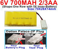700mah 6V RC Car Battery Pack-6 Volt 700mah Ni-Cd Battery 2/3AA-With Datian Palace-2P Plug(The D-Shape hole is Black wire),6V 700mah Rechargeable Battery For RC Car Truck,(Shape-One Row with 5X Inner-Battery)-Size-70X28X14mm