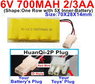 700mah 6V NiCd Battery Pack-2/3AA 700mah 6 Volt NiCD Rechargeable Battery-With HuanQi-2P plug(1X Square hole+ 1X D-Shape Hole.The D-Shape Hole is Red Wire),6V 700mah Ni-Cd Rechargeable Battery For RC Car Truck,(Shape-One Row with 5X Inner-Battery)-Size-70X28X14mm