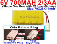 700mah 6V RC Car Battery Pack-6 Volt 700mah Ni-Cd Battery 2/3AA-With Oda Palace Plug(Round hole-Red Wire),6V 700mah Rechargeable Battery For RC Car Truck,(Shape-One Row with 5X Inner-Battery)-Size-70X28X14mm