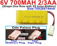 700mah 6V RC Car Battery Pack-6 Volt 700mah Ni-Cd Battery 2/3AA-With Oda Palace Plug(Round hole-Black Wire),6V 700mah Rechargeable Battery For RC Car Truck,(Shape-One Row with 5X Inner-Battery)-Size-70X28X14mm