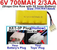 700mah 6V RC Car Battery Pack-6 Volt 700mah Ni-Cd Battery 2/3AA-With KET-3P Plug(Hollow)-(2X Suare Hole+1X D-Shape Hole,The Middle hole is Black wire),6V 700mah Rechargeable Battery For RC Car Truck,(Shape-One Row with 5X Inner-Battery)-Size-70X28X14mm