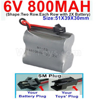 800mah 6V RC Car Battery Pack-6 Volt 800mah Ni-Cd Battery) AA-With SM Plug,6V 800mah Rechargeable Battery For RC Car Truck,(Shape-Two Row.Each Row with 2X Battery)-Size-51X39X30mm