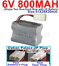 800mah 6V RC Car Battery Pack-6 Volt 800mah Ni-Cd Battery) AA-With Datian Palace-2P Plug(The D-Shape hole is Black wire),6V 800mah Rechargeable Battery For RC Car Truck,(Shape-Two Row.Each Row with 2X Battery)-Size-51X39X30mm