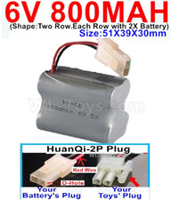 800mah 6V RC Car Battery Pack-6 Volt 800mah Ni-Cd Battery) AA-With HuanQi-2P plug(1X Square hole+ 1X D-Shape Hole.The D-Shape Hole is Red Wire),6V 800mah Rechargeable Battery For RC Car Truck,(Shape-Two Row.Each Row with 2X Battery)-Size-51X39X30mm