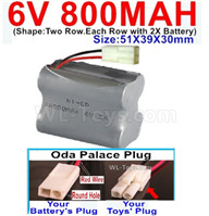 800mah 6V RC Car Battery Pack-6 Volt 800mah Ni-Cd Battery) AA-With Oda Palace Plug(Round hole-Red Wire),6V 800mah Rechargeable Battery For RC Car Truck,(Shape-Two Row.Each Row with 2X Battery)-Size-51X39X30mm