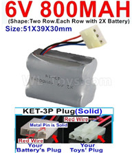 800mah 6V RC Car Battery Pack-6 Volt 800mah Ni-Cd Battery) AA-With KET-3P Plug(Solid)-(2X Suare Hole+1X D-Shape Hole,The Middle hole is Red wire-Size-51X39X30mm