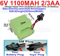 1100mah 6V RC Car Battery Pack-6 Volt 1100mah Ni-Cd Battery 2/3AA-With SM Plug,6V 1100mah Rechargeable Battery For RC Car Truck,(Shape-One Row With 5 Inner-Battery),6V 1100mah Rechargeable Battery For RC Car Truck,(Shape-Upper Row 2X Battery,Lower Row 3X Battery)-Size-43mm(Lower)X28.6mm(Upper)X28.6(height)X28mm(Width),6V 1100mah Rechargeable RC Battery Pack