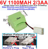1100mah 6V NiCd Battery Pack-2/3AA 1100mah 6 Volt NiCD Rechargeable Battery-With Datian Palace-2P Plug(The D-Shape hole is Black wire)-Size43mm(Lower)X28.6mm(Upper)X28.6(height)X28mm(Width),6V 1100mah Rechargeable RC Battery Pack