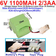 1100mah 6V RC Car Battery Pack-6 Volt 1100mah Ni-Cd Battery 2/3AA-With HuanQi-2P plug(1X Square hole+ 1X D-Shape Hole.The D-Shape Hole is Red Wire)-43mm(Lower)X28.6mm(Upper)X28.6(height)X28mm(Width),6V 1100mah Rechargeable RC Battery Pack