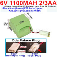 1100mah 6V NiCd Battery Pack-2/3AA 1100mah 6 Volt NiCD Rechargeable Battery-Oda Palace Plug(Round hole-Red Wire)-Size-43mm(Lower)X28.6mm(Upper)X28.6(height)X28mm(Width),6V 1100mah Rechargeable RC Battery Pack