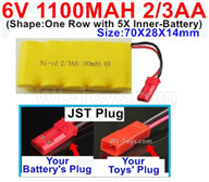 1100mah 6V RC Car Battery Pack-6 Volt 1100mah Ni-Cd Battery 2/3AA-With JST Plug,6V 1100mah Rechargeable Battery For RC Car Truck,(Shape-One Row with 5X Inner-Battery)-Size-70X28X14mm