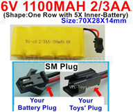 1100mah 6V RC Car Battery Pack-6 Volt 1100mah Ni-Cd Battery 2/3AA-With SM Plug,6V 1100mah Rechargeable Battery For RC Car Truck,(Shape-One Row with 5X Inner-Battery)-Size-70X28X14mm