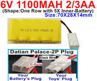 1100mah 6V RC Car Battery Pack-6 Volt 1100mah Ni-Cd Battery 2/3AA-With Datian Palace-2P Plug(The D-Shape hole is Black wire),6V 1100mah Rechargeable Battery For RC Car Truck,(Shape-One Row with 5X Inner-Battery)-Size-70X28X14mm