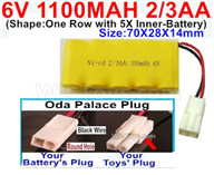 1100mah 6V RC Car Battery Pack-6 Volt 1100mah Ni-Cd Battery 2/3AA-With Oda Palace Plug(Round hole-Black Wire),6V 1100mah Rechargeable Battery For RC Car Truck,(Shape-One Row with 5X Inner-Battery)-Size-70X28X14mm