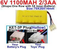 1100mah 6V RC Car Battery Pack-6 Volt 1100mah Ni-Cd Battery 2/3AA-With KET-3P Plug(Hollow)-(2X Suare Hole+1X D-Shape Hole,The Middle hole is Black wire),6V 1100mah Rechargeable Battery For RC Car Truck,(Shape-One Row with 5X Inner-Battery)-Size-70X28X14mm